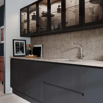 Aconbury kitchen graphite and glass wall