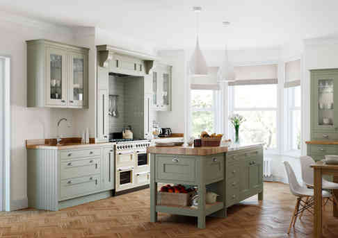 Baystone kitchen with mantle and island