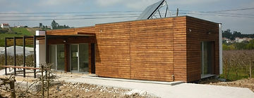 Casa Modular Aço Leve com revestimento em thermowood