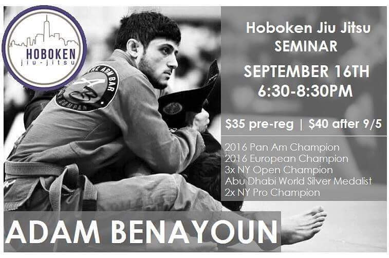 Here on this flyer for a seminar for my friend Adam we see an example of a Jiu Jitsu resume listed below all the other important details
