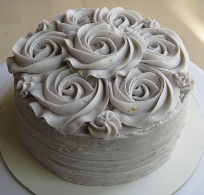 Chocolate Lavender Cake with Rosettes