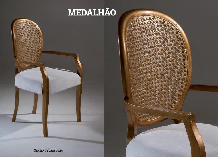 Cadeira MEDALHÃO em pátina ouro