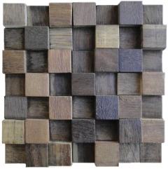 Mosaico de Madeira de Demolicao 44 - 28 x 28 cm