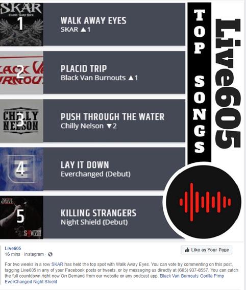 SKAR's 2nd Original Walk Away Eyes Tops Live 605 Chart!