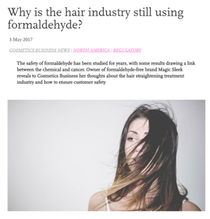 Cosmetics Industry - formaldehyde-free straightening with same sleek and smooth results