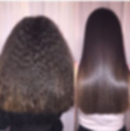 Magic Sleek before and after results, curly hair to straight hair and sleek hair