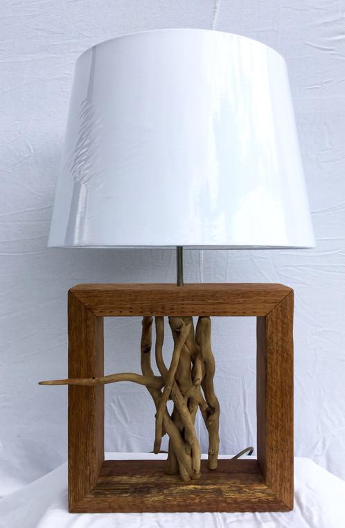 Oak Frame Driftwood Lamp