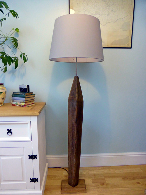 Arrow driftwood floor lamp welsh driftwood the lamp comprises of an australian oak base driftwood beam body with unique grain internal cable with plug lamp holder with switch and a b22 lamp mozeypictures Choice Image