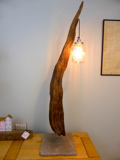 this sculptural piece of wood was found this shape itu0027s been cleaned sanded treated and mounted on a stone base includes b22 lamp holder and kilner jar
