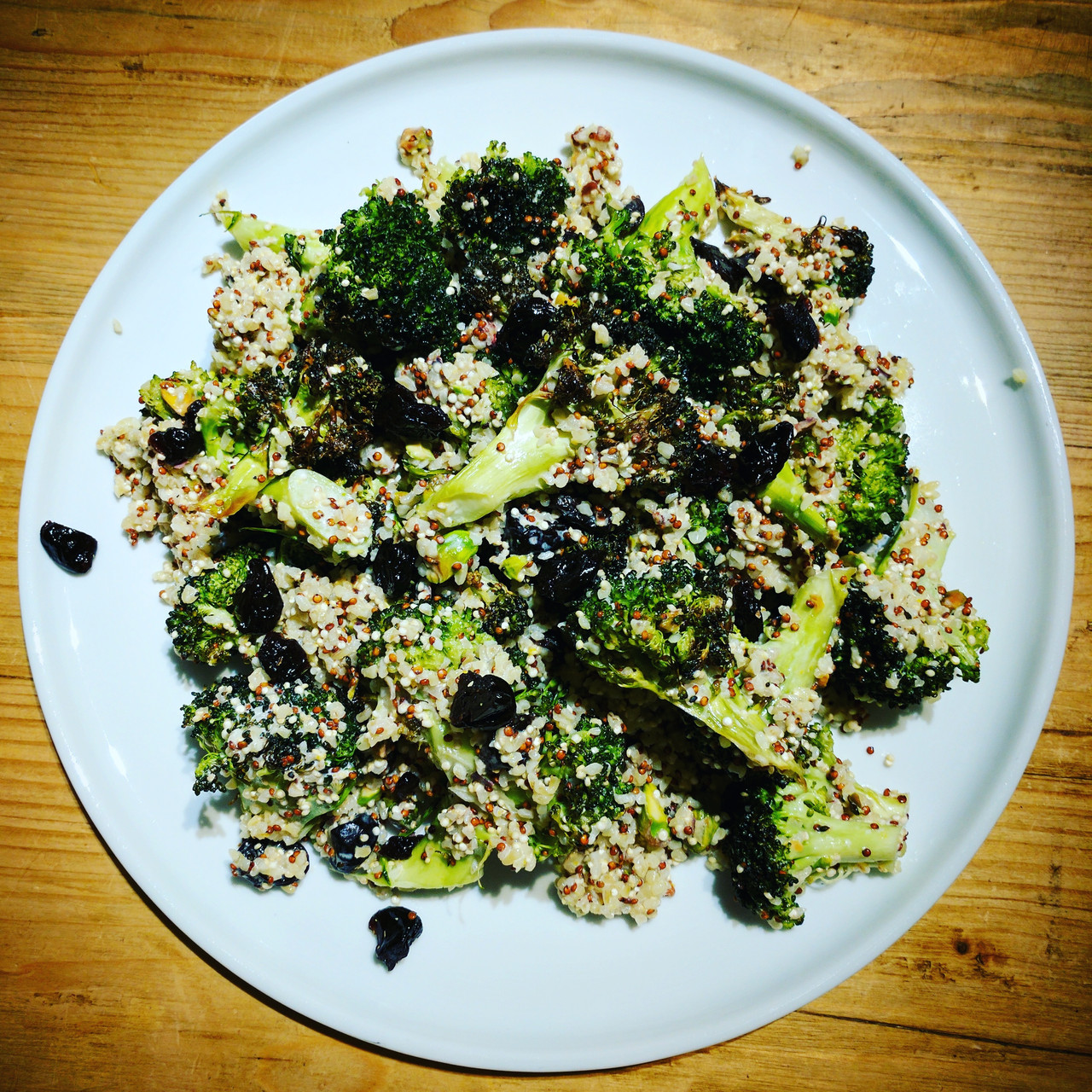 Roasted Broccoli with Bulgar, Dried Cherries and Pistachios