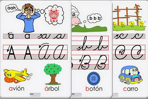 30 Flashcards (A-Z) - letras y dígrafos (paquete tamaño carta)