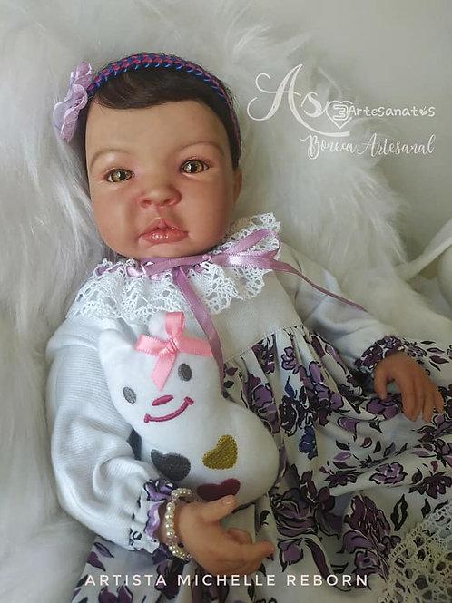 Boneca Bebê Reborn Melanie 49cm e 1637kg Corpo Tecido Sid Nyl Kit Tata