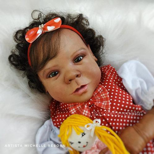 Bebê Reborn Babi 49cm e 2100g Corpo Tecido Enxoval Completo