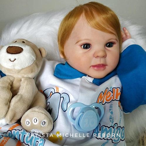 Bebê Reborn Menino Corpo Tecido Guga Loiro Sid Nyl Kit Diandra