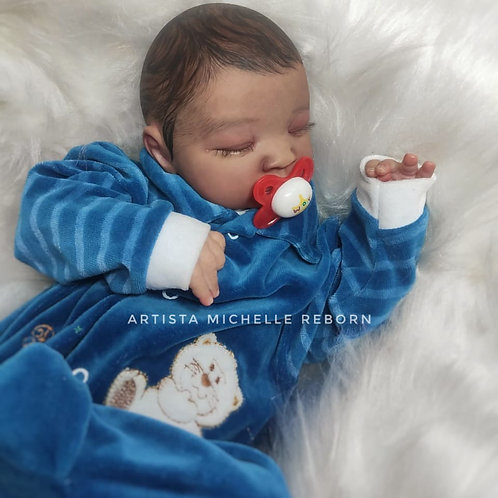Bebê Reborn Menino Corpo Em Tecido E Olhos Fechados 49cm