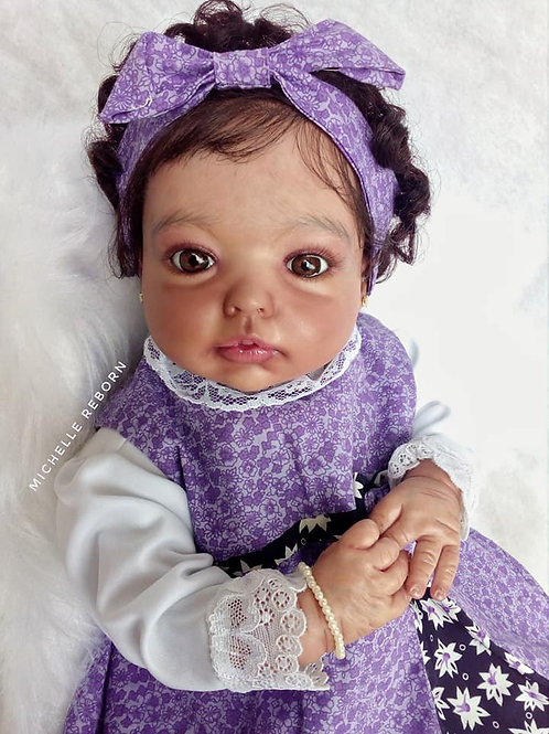 Bebê Reborn Yasmin Afro Menina Corpo Em Tecido Sid Nyl Kit Yasmin