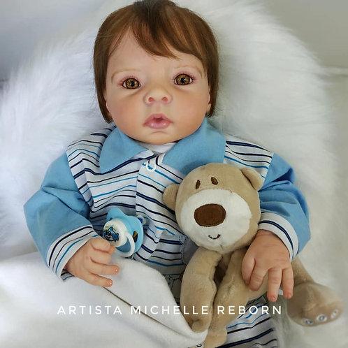 Bebê Reborn Menino Corpo em Tecido (Guga)  49 cm e 1800 kg Sid Nyl Minabela