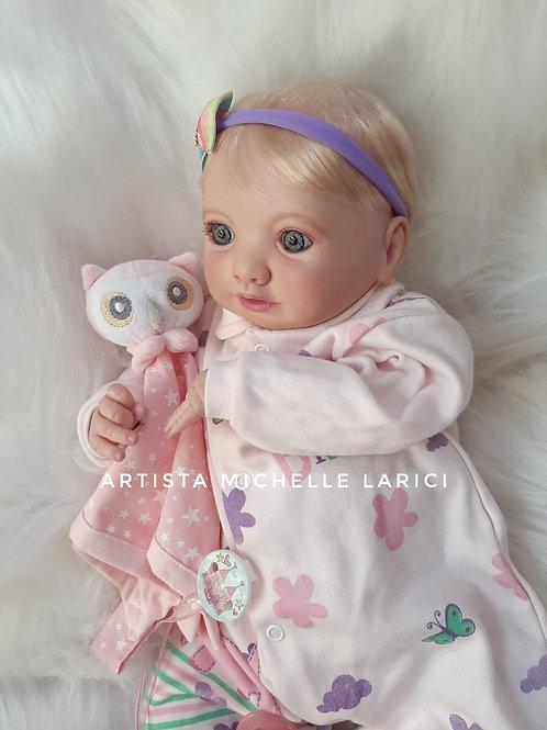 Bebê Reborn Menina 48 cm 1700g Corpo Tecido Mirelle Loira