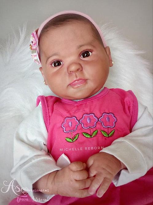 Boneca Reborn  Corpo Em Tecido Menina Cabelo em Pintura 3D Sid Nyl Diandra