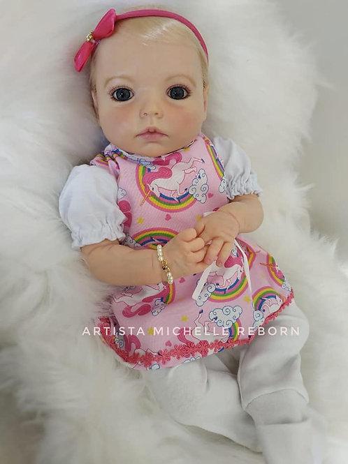 Bebê Reborn Menina Yasmin Loira 48 cm e 1900 kg Enxoval Completo