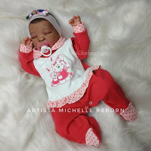 Bebê Reborn Lais Corpo Em Tecido E Olhos Fechados 49cm