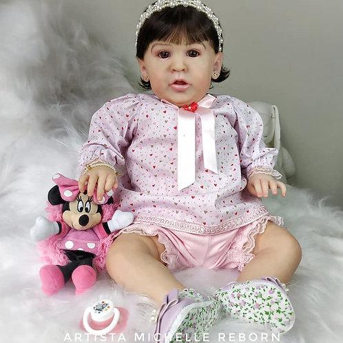 Bebê Reborn Menina Malu 56cm E 3,250kg Tecido Enxoval Completo