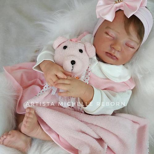 Bebê Reborn Jasmine 53cm e 2kg Corpo Tecido