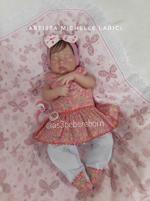 Bebê Reborn Menina Olhos Fechados peso 2kg e 52Cm