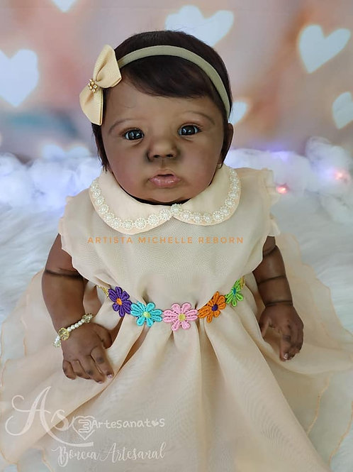 Bebê Reborn Abigail 54cm E 2,200kg Afro Corpo Em Tecido Enxoval Completo