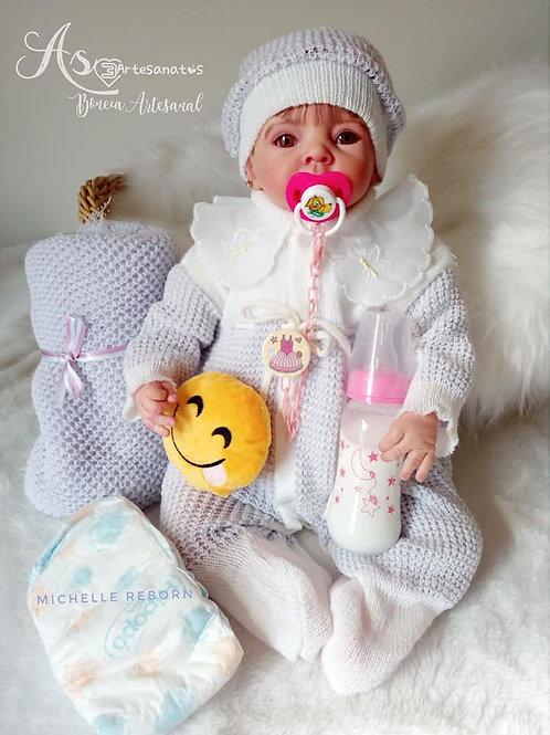 Bebê Reborn menina Minabela 1833g Corpo tecido Sid Nyl Ninabela