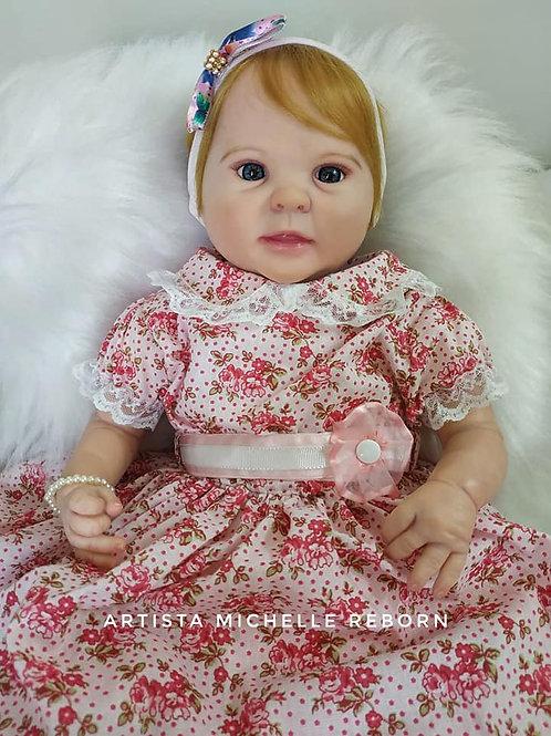 Bebê Reborn Menina Corpo Tecido Diandra Loira Sid nyl Kit Diandra