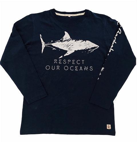 Tee shirt MancheLongues Bio / Requin B009