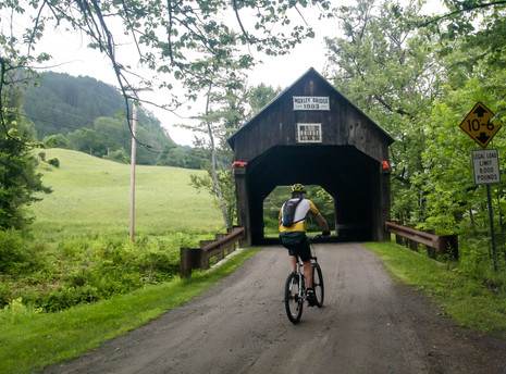 Entering one of the Milk Run's 3 covered bridges