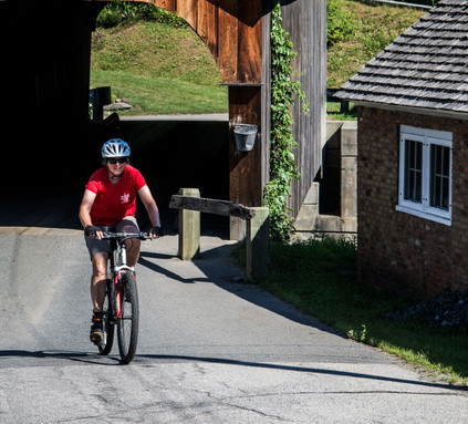 Exiting one of the Milk Run's 3 covered bridges