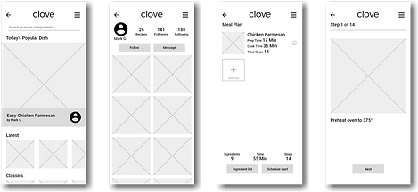 Low fidelity digital mockups of the app interface, with gray boxes representing images