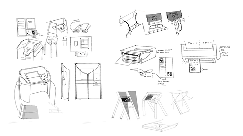 Hand sketches of ideas for the voting booth