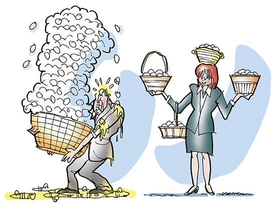 A man holds a basket with many eggs and a women holds eggs in many baskets