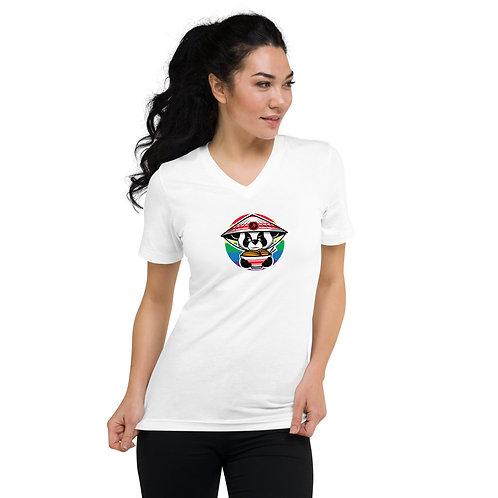 Spicy Panda (Rainbow) - Unisex Short Sleeve V-Neck T-Shirt
