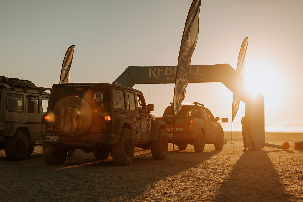 This was one of the most memorable starts for many reasons - beautiful sunrise, starting with another vehicle for the first time, dry lake bed. But the greatest thing about this start is that we started with Kristian and Rene - who ended up being our partner team the next day in Glamis!