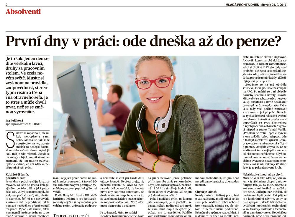 Absolvent poprvé v práci - článek Ivy Pelákové v MF DNES