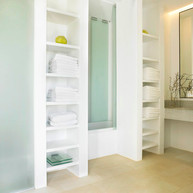 """Master's ensuite bathroom with shower, toilet, tailor-made sink design and """"shared"""" bathtub"""