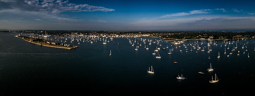 """Newport Harbor #2""  12""x 32"" Acrylic Panoramic"