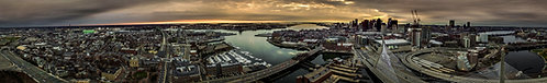 """Boston at Dawn.""   12""x79"" Acrylic Panoramic"
