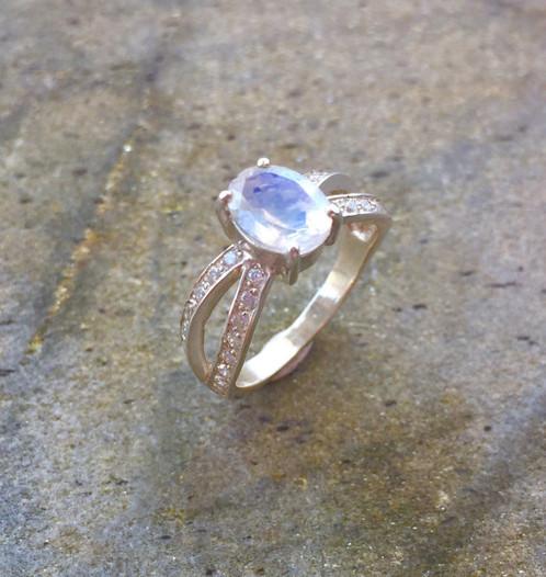 Moonstone Engagement Ring Rainbow Diamond Cut Natural