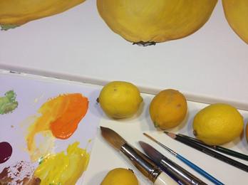 Zitronen, Tempera auf Leinwand
