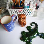 Pottery Owl, Mug and Gecko