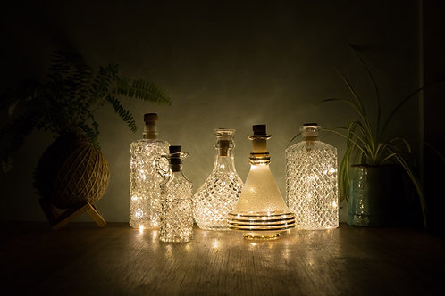 Vintage Decanter and Bottle Lantern (Battery Powered)