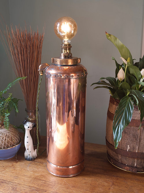 Industrial Copper and Brass Fire Extinguisher Lamp 🔥