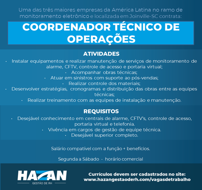 Coordenador Técnico de Operações (Joinville - SC)