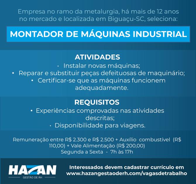 Montador de Máquinas Industrial